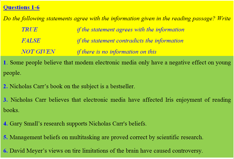 Practice for IELTS Reading: Is Constant Use of Electronic